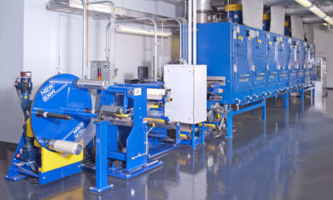 Narrow web battery coating & drying line