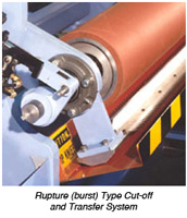 Rupture Type, Serrated Blade Cut-Off and Transfer System